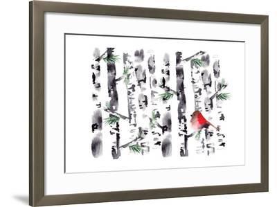 Bird in Birch-Sara Berrenson-Framed Art Print