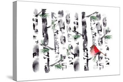 Bird in Birch-Sara Berrenson-Stretched Canvas Print