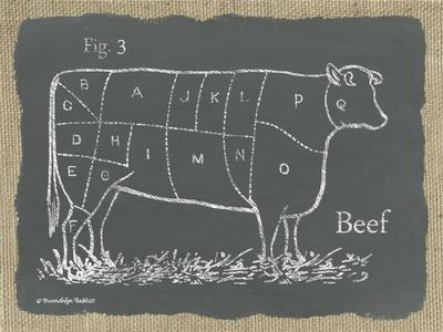 Cow on Burlap-Gwendolyn Babbitt-Stretched Canvas Print
