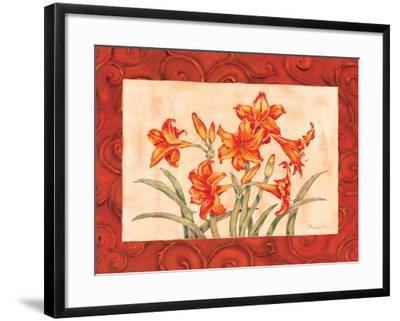 Linen Scroll Amaryllis-Paul Brent-Framed Art Print