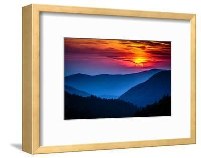 Great Smoky Mountains National Park Scenic Sunset Landscape Vacation Getaway Destination - Gatlinbu-Weidman Photography-Framed Photographic Print