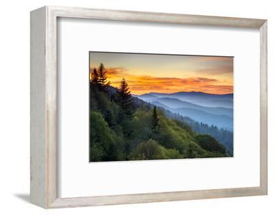 Great Smoky Mountains National Park Scenic Sunrise Landscape at Oconaluftee Overlook between Cherok-Dave Allen Photography-Framed Photographic Print