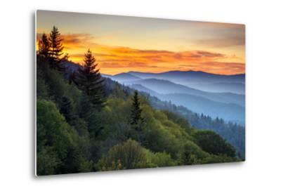 Great Smoky Mountains National Park Scenic Sunrise Landscape at Oconaluftee Overlook between Cherok-Dave Allen Photography-Metal Print