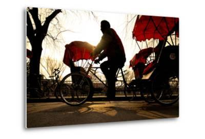 Man Riding a Rickshaw.-Rawpixel com-Metal Print