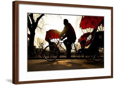 Man Riding a Rickshaw.-Rawpixel com-Framed Photographic Print