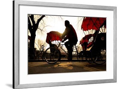 Man Riding a Rickshaw.-Rawpixel com-Framed Photographic Print