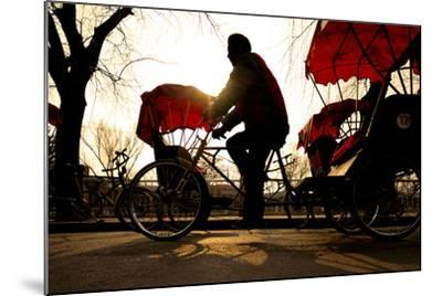 Man Riding a Rickshaw.-Rawpixel com-Mounted Photographic Print