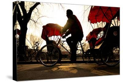 Man Riding a Rickshaw.-Rawpixel com-Stretched Canvas Print