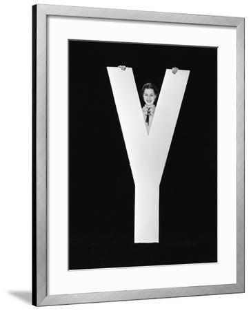 Woman Posing behind Huge Letter Y-Everett Collection-Framed Photographic Print