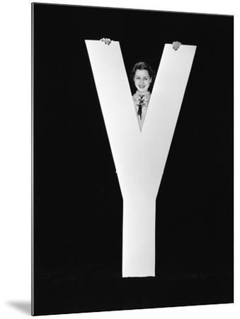 Woman Posing behind Huge Letter Y-Everett Collection-Mounted Photographic Print