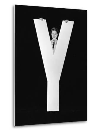 Woman Posing behind Huge Letter Y-Everett Collection-Metal Print