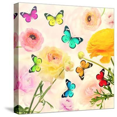 Colorful Beautiful Flowers and Butterflies Flying. Sweet Blurred Gentle Buttercups in the Backgroun-Protasov AN-Stretched Canvas Print
