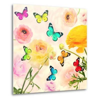 Colorful Beautiful Flowers and Butterflies Flying. Sweet Blurred Gentle Buttercups in the Backgroun-Protasov AN-Metal Print