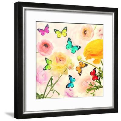 Colorful Beautiful Flowers and Butterflies Flying. Sweet Blurred Gentle Buttercups in the Backgroun-Protasov AN-Framed Photographic Print