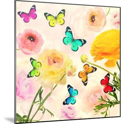 Colorful Beautiful Flowers and Butterflies Flying. Sweet Blurred Gentle Buttercups in the Backgroun-Protasov AN-Mounted Photographic Print