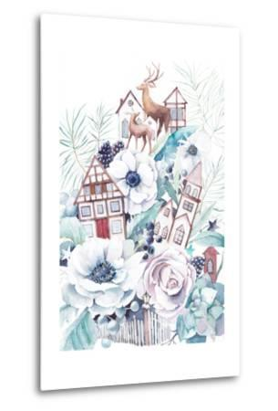 Watercolor Winter Fairytale Illustration. Hand Painted Bouquet with Old Houses, Deers, Anemone Flow-Eisfrei-Metal Print