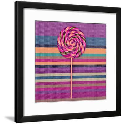 Lollipop on Bright Striped Background. Vanilla Minimal Style-Evgeniya Porechenskaya-Framed Photographic Print