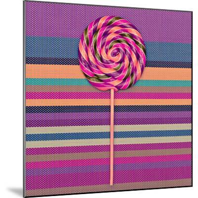 Lollipop on Bright Striped Background. Vanilla Minimal Style-Evgeniya Porechenskaya-Mounted Photographic Print