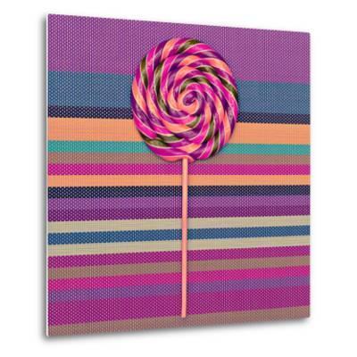 Lollipop on Bright Striped Background. Vanilla Minimal Style-Evgeniya Porechenskaya-Metal Print