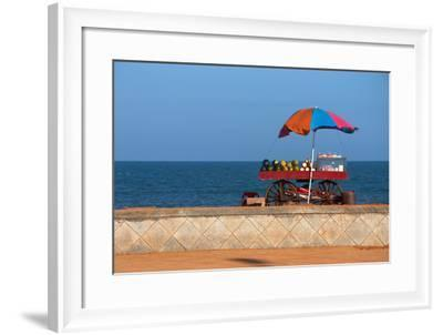 Seafront View of Vendor's Cart with Fruits- Polryaz-Framed Photographic Print