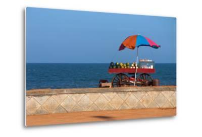 Seafront View of Vendor's Cart with Fruits- Polryaz-Metal Print