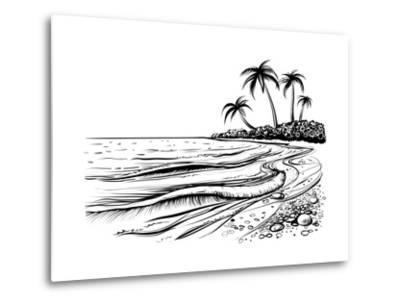 Ocean or Sea Beach with Waves, Sketch. Black and White Vector Illustration of Sea Shore with Palms.- Melok-Metal Print
