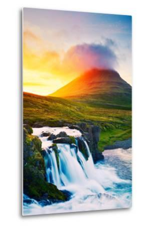 Sunset Waterfall. Amazing Nature Landscape.-EpicStockMedia-Metal Print