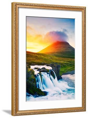Sunset Waterfall. Amazing Nature Landscape.-EpicStockMedia-Framed Photographic Print