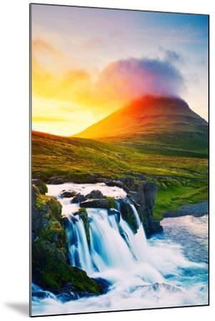 Sunset Waterfall. Amazing Nature Landscape.-EpicStockMedia-Mounted Photographic Print