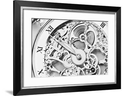 Black and White close View of Watch Mechanism- ThomasLENNE-Framed Photographic Print