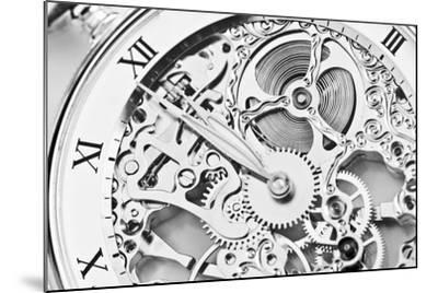 Black and White close View of Watch Mechanism- ThomasLENNE-Mounted Photographic Print