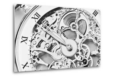 Black and White close View of Watch Mechanism- ThomasLENNE-Metal Print