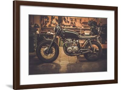 Vintage Style Cafe-Racer Motorcycle in Customs Garage-NejroN Photo-Framed Photographic Print