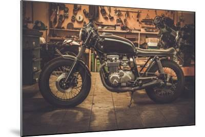 Vintage Style Cafe-Racer Motorcycle in Customs Garage-NejroN Photo-Mounted Photographic Print