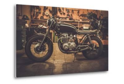Vintage Style Cafe-Racer Motorcycle in Customs Garage-NejroN Photo-Metal Print