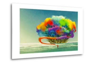 Man Draws Abstract Tree with Colorful Smoke Flare,Illustration Painting-Tithi Luadthong-Metal Print