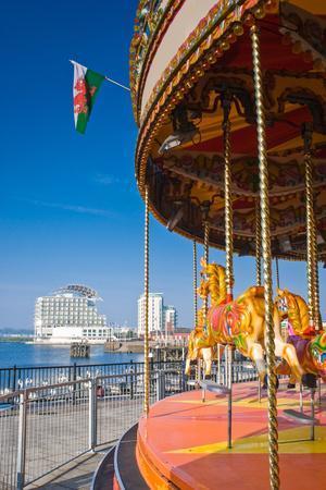 Pretty Carousel Overlooking Slick Cardiff Bay Development in Wales.-Matthew Dixon-Framed Photographic Print