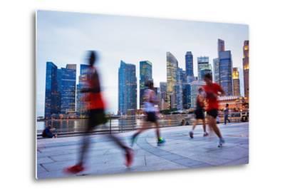 People Runing in the Evening in Singapore-joyfull-Metal Print