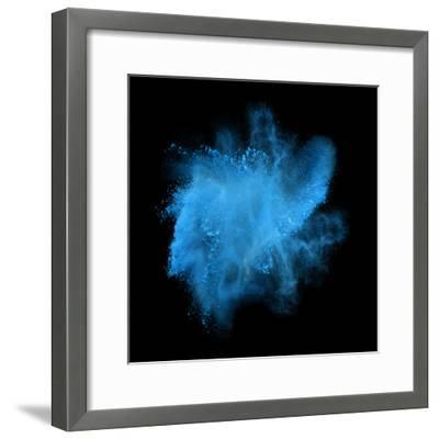 Freeze Motion of Blue Powder Exploding, Isolated on Black, Dark Background. Abstract Design of Whit-Bashutskyy-Framed Photographic Print