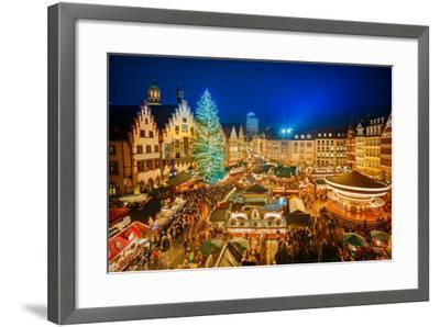 Traditional Christmas Market in the Historic Center of Frankfurt, Germany-S Borisov-Framed Photographic Print