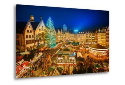 Traditional Christmas Market in the Historic Center of Frankfurt, Germany-S Borisov-Metal Print