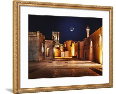 Night View of the Streets of the Old Arab City Dubai UAE- Laborant-Framed Photographic Print