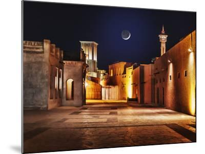Night View of the Streets of the Old Arab City Dubai UAE- Laborant-Mounted Photographic Print