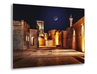 Night View of the Streets of the Old Arab City Dubai UAE- Laborant-Metal Print