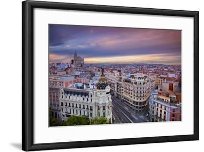 Madrid. Cityscape Image of Madrid, Spain during Sunset.-Rudy Balasko-Framed Photographic Print