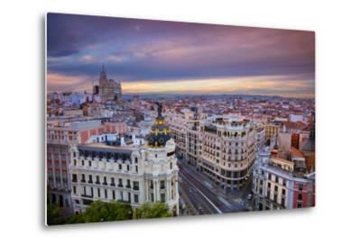 Madrid. Cityscape Image of Madrid, Spain during Sunset.-Rudy Balasko-Metal Print