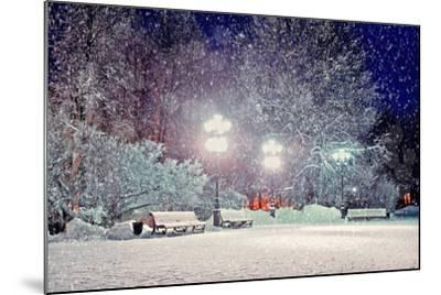 Winter Night Landscape - Evening in the Night Snowy Park with Benches under Snowfall-Marina Zezelina-Mounted Photographic Print