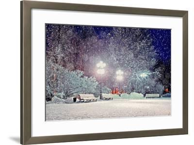 Winter Night Landscape - Evening in the Night Snowy Park with Benches under Snowfall-Marina Zezelina-Framed Photographic Print