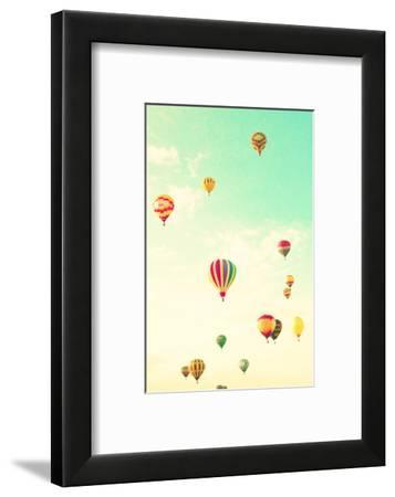 Colorful Hot Air Balloons in a Green Mint Summer Sky-Andrekart Photography-Framed Photographic Print