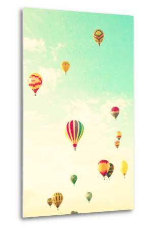 Colorful Hot Air Balloons in a Green Mint Summer Sky-Andrekart Photography-Metal Print